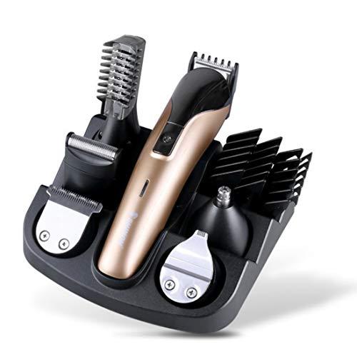 Cortapelos para hombres, 6 en 1, kit de cuidado con accionamiento de litio, recargable, cortadora de pelo eléctrica, kit de detalles de cuidado para hombres, para trabajar barba, pelo, barba (dorado)