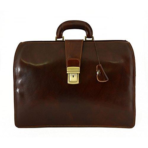 Business Und Arzttasche Aus Echtem Leder Mit 3 Fächern Farbe Braun - Italienische Lederwaren - Aktentasche