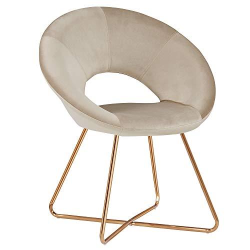 Duhome Silla de Comedor de Tela (Terciopelo) Beige diseño Retro Silla tapizada Vintage sillón con Patas de Metallo seleccion de Color 439D