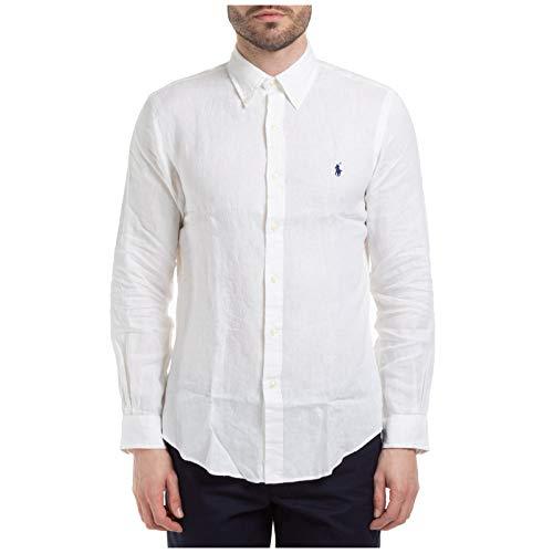 Polo Ralph Lauren Mod. 710794142 Camisa Lino Slim Fit Hombre Blanca M