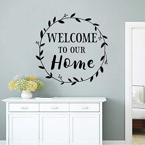 Wuyyii Familie Design Decor Welkom bij onze Home Sign Muursticker Home Decoratie Voordeur Vinyl Decals Ronde Tak Muur 57X57Cm