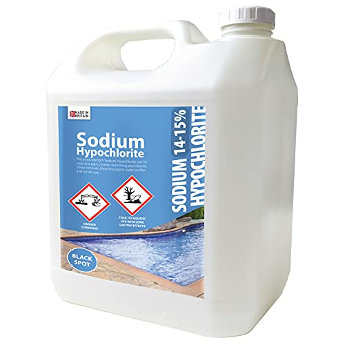 Sanitise and Protect Sodium Hypochlorite - 14-15% Extra Strength - Patio & Block Paving Cleaner - Swimming Pool Cleaner - Removes odours & black spot - Bleaching Agent & Lab Use - 5L (1)