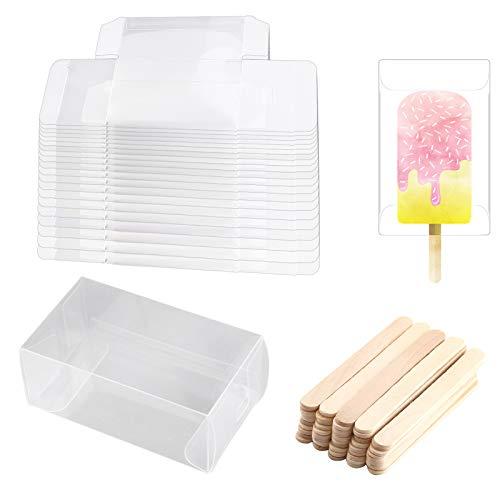 LUTER 20 Cajas 3.7x2.2x1.5 Inches para Galletas Transparente Cajas para Tartas Rectangulares + 50 Palos Madera Manualidades para Paletas De Bricolaje Fiesta