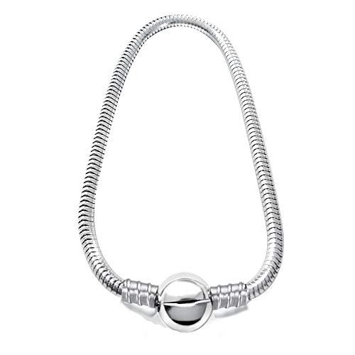 JMQJewelry - Pulsera de cadena de serpiente de acero inoxidable con cuentas de cierre de langosta para mujeres y hombres