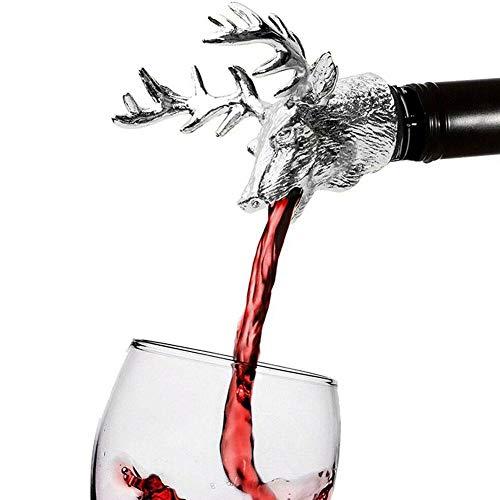 Weinausgießer, Legierung, Hirsch, Kopf, Wein, Ausgießer, wasserdicht, für die meisten Flaschen, Zubehör, Cocktails, Getränke, Gadget, Weinliebhaber, multifunktional Silber