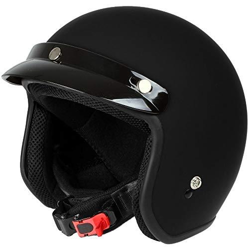 Mach1® Jethelm Motorradhelm schwarz-matt ECE R 22.05 - Roller Scooter Helm Größe XS bis XXL - Abnehmbarer Schirm