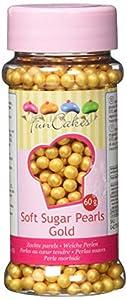 FunCakes Perlas Blandas Oro: Sprinkles para Tartas, Gran Sabor, Perfecto para Decorar Tartas, Cientos y Miles de Sprinkles. 60 g