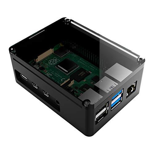 anidees Aluminium Pi Case Gehäuse für Raspberry Pi 4 Model B - Schwarz (AI-PI4-BB)