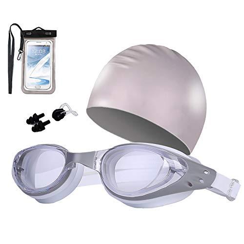 TOMYEER Premium Schnorchelset Erwachsene Schnorcheln Tauchmaske gehärtetes Glas Schwimmbrille Maske Trockenes Schnorchelset Grau 5 Stück
