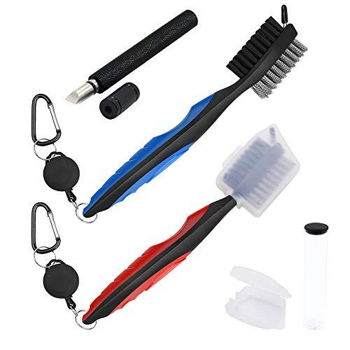 2 cepillos retráctiles para palos de golf con funda protectora, 1 sacapuntas y limpiador para cuñas y planchas con caja de almacenamiento, herramienta de reranurado