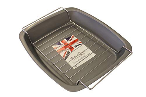 37cm Meat Roasting Pan & Rack Non Stick, Made in England