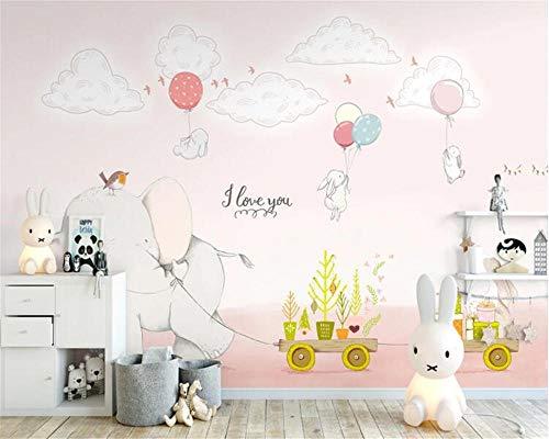 Bdhnmx-Fototapete 3D Cartoon Elefant weißes Kaninchen Kinderzimmer Kindergarten Sofa TV Hintergrund Wand Vlies Printed Wallpaper Murals 3D-250cmx175cm