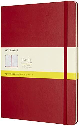 Moleskine - Cuaderno Clásico con Hojas Cuadriculadas, Tapa Dura y Cierre Elástico, Color Rojo Escarlata, Tamaño Extra Grande 19 x 25 cm, 192 Hojas