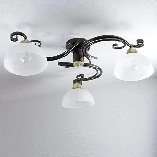 Deckenleuchte Landhaus Braun Weiß Messing 3x E27 Deckenlampe Wohnzimmer floraler Stil Schlafzimmerlampe
