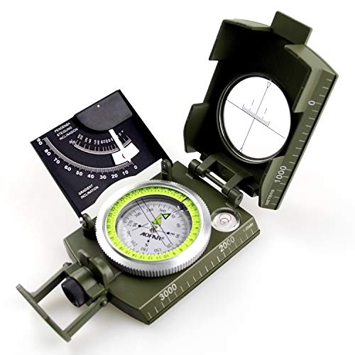 AOFAR Military Compass AF-4074 Camo for Hiking ,Lensatic Sighting Waterproof ,Durable ,Inclinometer for Camping ,Boy Scount,Geology Activities Boating