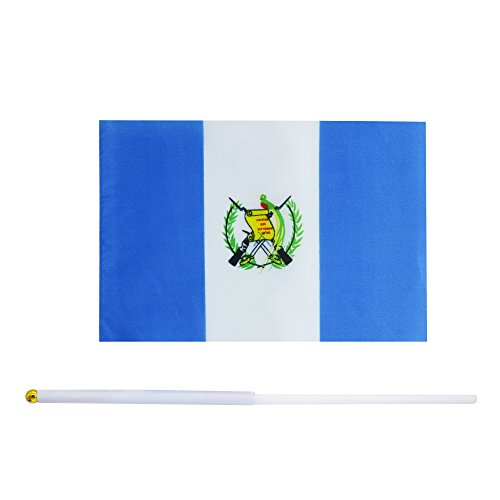 25 Pack Hand Held Small Mini Flag Guatemala Flag Guatemalan Flag Stick Flag Round Top National Country Flags,Party Decorations Supplies For Parades,World Cup,Festival Events ,International Festival