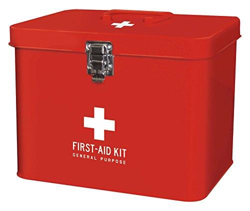 ケーアイジャパン メディコ ブリキ の オシャレ な 救急箱 (仕切り、トレー付き) レッド mサイズ 160014