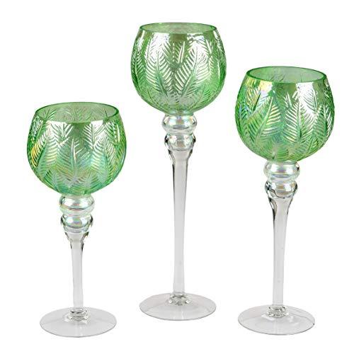 formano 3er Set Glaskelch grün 30-40 cm Glaswindlicht Teelichthalter Windlicht Blatt