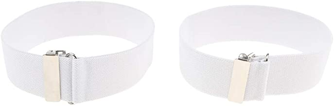 Prettyia Men's Adjustable Shirt Arm Garter Band Sleeves Holder Armband - White, as described