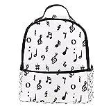 ATOMO Mini mochila casual negro y blanco música nota pu cuero viaje compras bolsas Daypacks