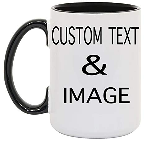 Customized 15oz Ceramic Coffee Mugs with Personalized Text and Photo Image Upload Novelty Gift, Personalize With Different Design And Images, Custom Gift (Black)
