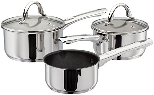 Kaufmann Sienna K0A1 3-Piece Set Stainless Steel Pans, 18cm and 16cm Saucepans with Lids and 14cm Non-Stick Milk Pan Oven Safe, Induction Ready - 5 Year Guarantee