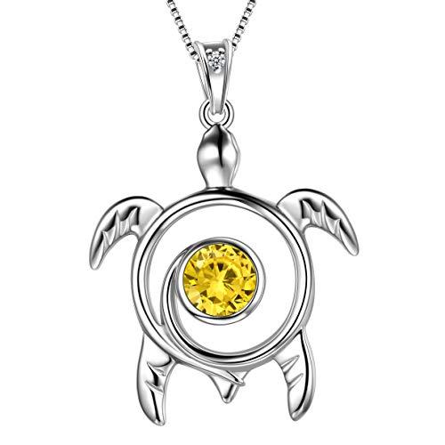 Aurora Tears Yellow Turtle Necklace Celtic Spiral 925 Sterling Silver November-Topaz Sea Animal Viking Swirls Turtle Pendant Women Birthstone Ancient Symbol Crystal Cute Jewelry DP0172N
