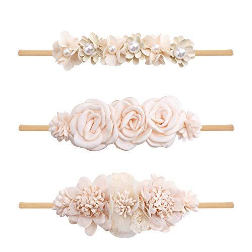 Baby Girl Flower Headbands Set-Elastic Hair Band Crown Flower Wraps for Newborn Infant Toddler 3Pcs by mligril