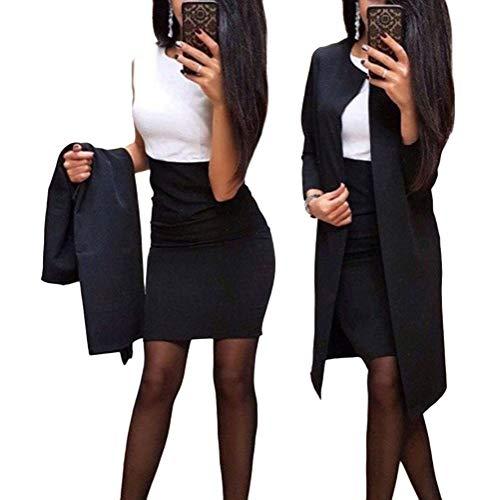 Minetom Damen Langarm Bodycon Mini Kleid und Jacke Langer Mantel 2 Stücke Herbst Winter Elegant Sexy Büro Party Cocktail Business Abendkleid...