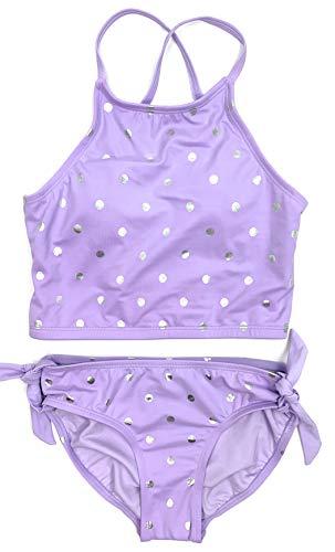 Justice Girls Bikini 2-Piece Bathing Suit Purple Foil Dot Long Line Bow Back 10