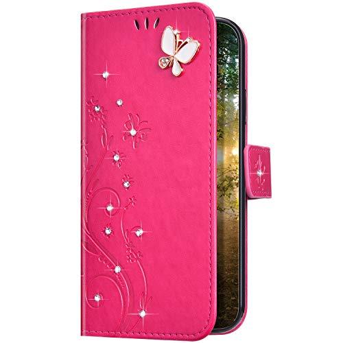 Uposao Kompatibel mit Samsung Galaxy A01 Hülle Glitzer Bling Strass Diamant Schmetterling Handyhülle Brieftasche Schutzhülle Leder Tasche Wallet Flip Case Cover Klapphülle Kartenfach,Rose