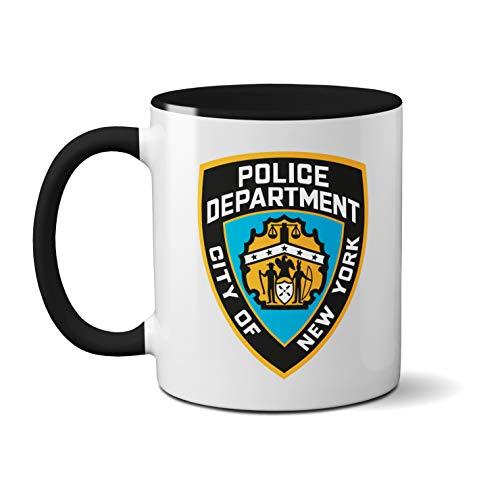Tasse mit USA-Police Department – Keramik Kaffee Tee Tasse Geschenk Tasse Kaffee Tee Keramik Griff Idee robuster Griff spülmaschinenfest und mikrowellengeeignet (schwarzer Griff)