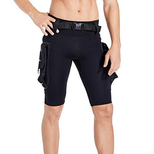 Seaskin Pantalones cortos de neopreno para hombre, 2,5 mm, de neopreno, gruesos, cálidos, con bolsillo grande para esnórquel, natación, buceo, canoa (negro, XL)