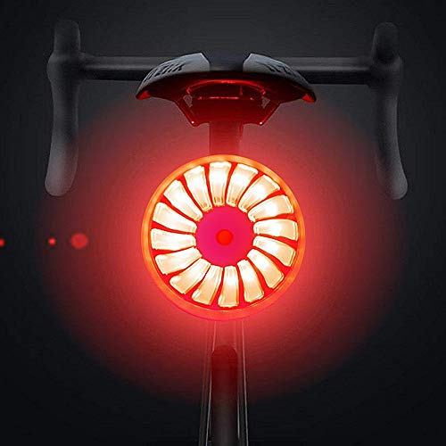 WASAGA Luz Trasera de la Bicicleta, Smart Brake Luz Trasera de la Bicicleta Recargable por USB, 5 Modos de luz Mochila Impermeable Mochila Lámpara LED Advertencia de Seguridad Luz estroboscópica