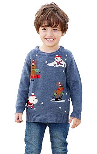 shineflow Kinder Kids Rentier Rudolph Rote Nase Ugly Weihnachten Pullover Jumper (Blau 3, 5 Jahre)