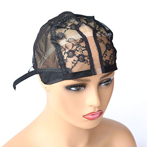 BTWTRY U Part Wig Cap for Making Wigs with Adjustable Strap Medium Size Black Dome Mesh Weaving Wig Cap for Women and Girls DIY Wigs (1 Pc, Black)