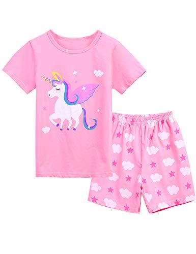 Bricnat Mädchen Schlafanzug Nachtwäsche Baumwolle Kinder Frühling Sommer Bekleidung Pyjama Set Kurze Ärmel Pyjama Zweiteiliger Schlafanzug Shorty, Rosa 1, 3-4 Jahre