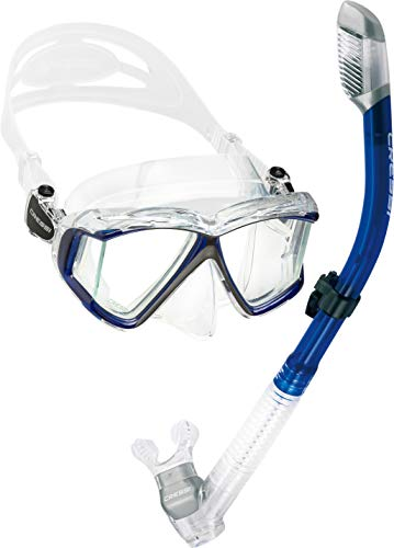 Cressi Panoramic Wide View Mask with Dry Snorkel Set, Blue