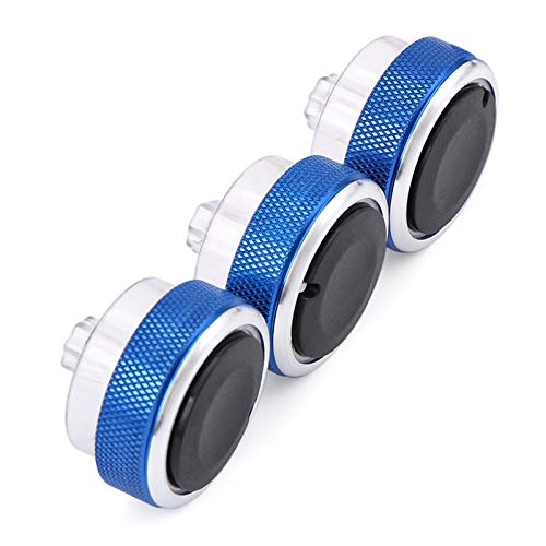 N\A Car 3PCS Air Conditioning Heat Control Switch Knob 3 Pieces/Set Refit AC Knob Car Stickers (Color Name : Blue)