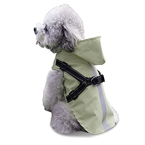 Chubasquero para perros pequeños con arnés para mascotas impermeable chaqueta...
