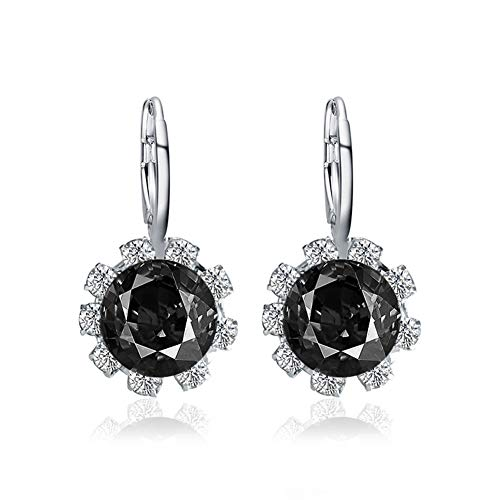 beautijiam Flower Earrings Jewellery for Women Round Shape Faux Crystal Cubic Zirconia Stud Earrings Gifts for Birthday Valentines Day Wife Girlfriend Black