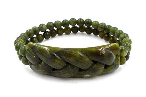 J.C. Walsh and Sons Ltd Irish Connemara Marble: Celtic Braided Stretch Bracelet