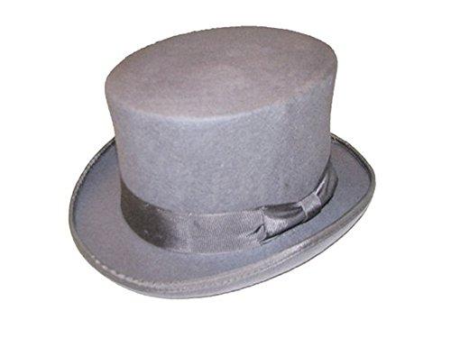 VIZ Grande Taille Gris 100% Laine fabriqué à la Main 5 1/5,1 cm de Hauteur en Feutre Chapeau Haut-de-Forme