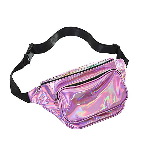 iClosam heuptas voor dames, reflecterende waterdichte heuptas voor sport, modieuze riemtas, outdoor reis, glanzende taille, verstelbare schoudertassen
