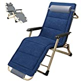 SLSY Chaise Lounge Chair, Full Flat Lounge Chair with Removable Pad & Cup Holder for Indoor and Outdoor, Ergonomic Patio Recliner,Folding Lounge Chair for Adults, Deep Sea Blue