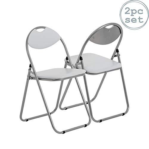Klappstuhl - gepolstert - Weiß - 2 Stück