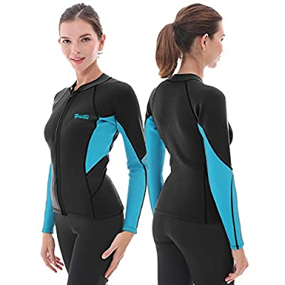 GoldFin Women's Wetsuit Top, 3mm Neoprene Wetsuit Jacket Long Sleeve Front Zip Wetsuit Shirt for Diving Snorkeling Surfing Kayaking Canoeing (Black, L)