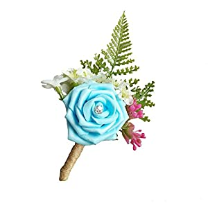 WeddingBobDIY Artificial Rose Flower Groom Boutonniere Buttonholes Groomsman Best Man Rose Wedding Flowers Accessories Party Suit Decoration