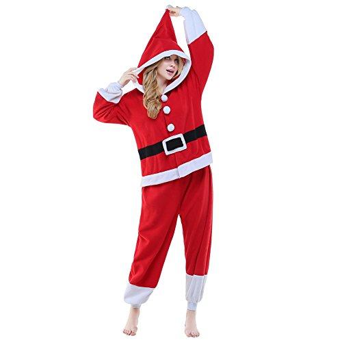 NEWCOSPLAY Unisex Adult Santa Claus One- Piece Cosplay Animal Pajamas Halloween Costume (S) Red