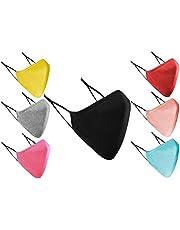 Gezichtsmaskers wasbaar UK 3-laags katoenen gezichtsmasker wasbaar herbruikbaar ademend doekmateriaal voor dames en heren, gezichtsbescherming voor volwassenen met oorlussen - (7 stuks verschillende kleur)